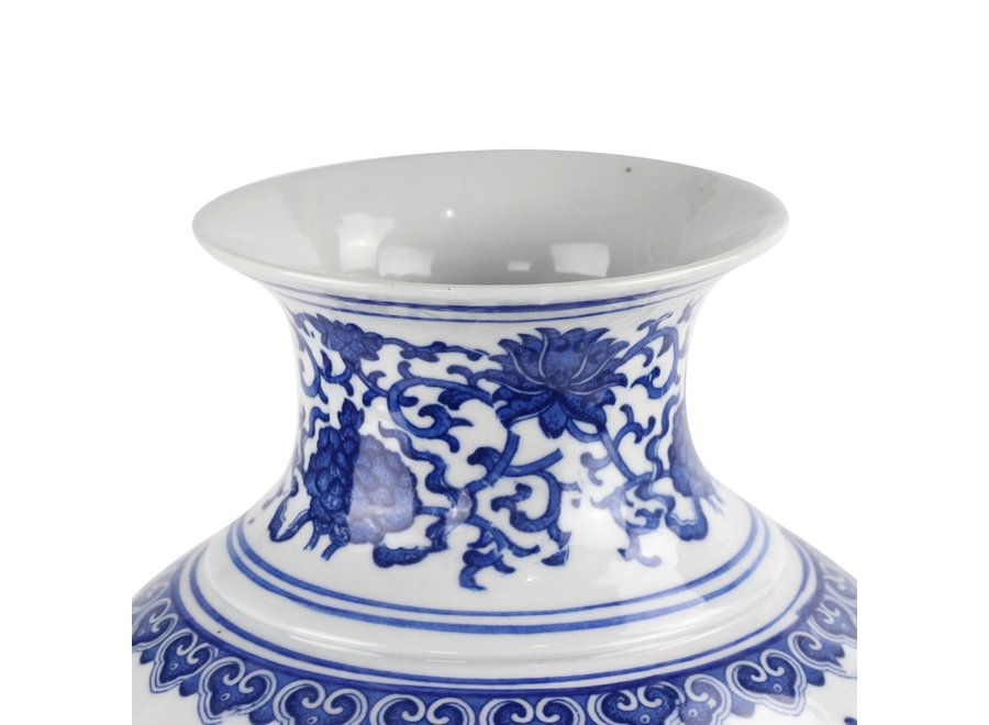 Chinesische Vase Porzellan Lotus Blau und Weiß D21xH28cm
