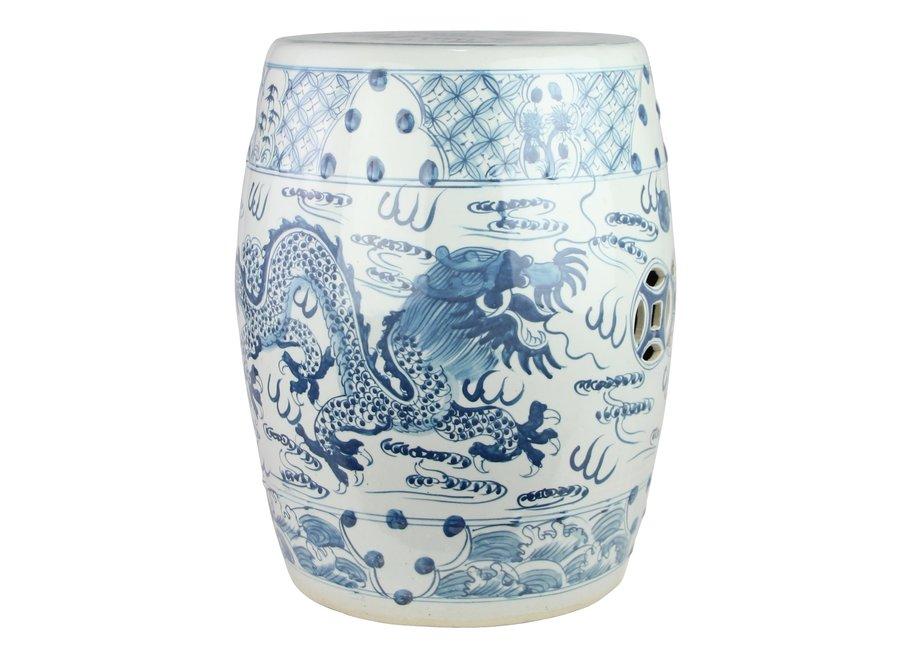 Ceramic Garden Stool Blue White Handpainted Dragon D33xH45cm
