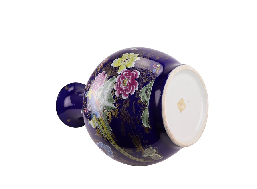 Chinese Vase Navy Blossoms D37xH58cm