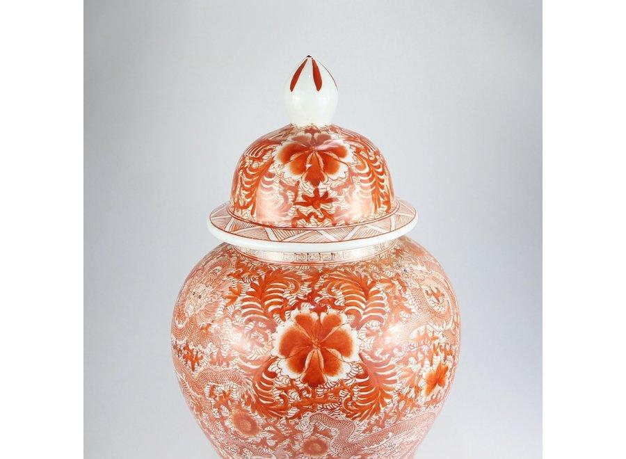 Chinesische Deckelvase Porzellan Rot Handbemalter Drache D33xH61cm