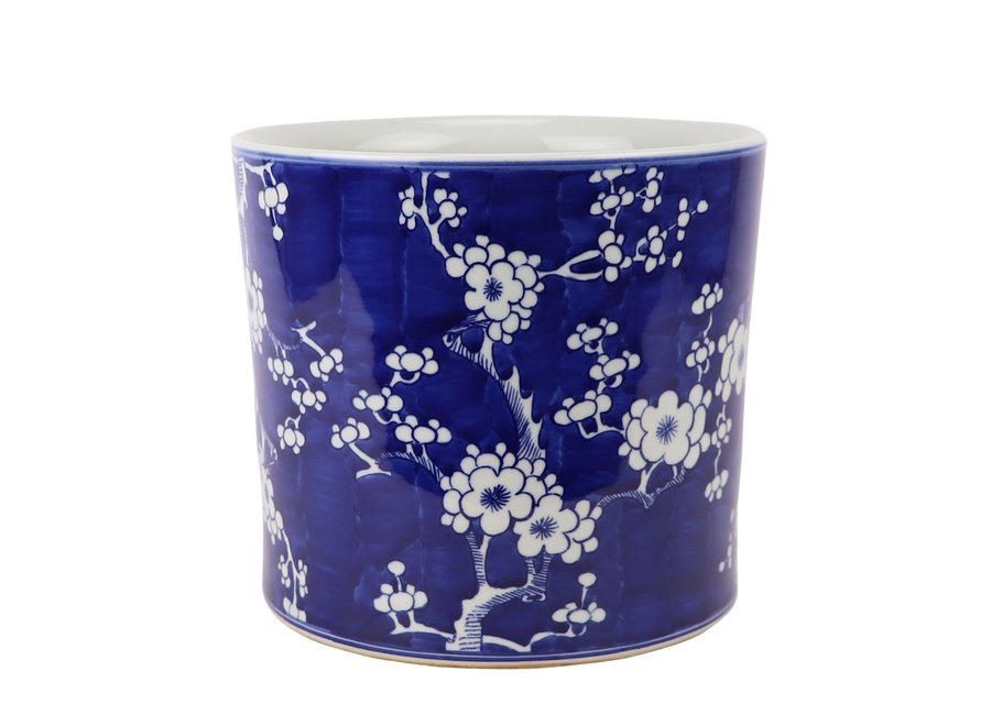 Chinese Flower Pot Blue Handpainted Blossoms D22xH20cm