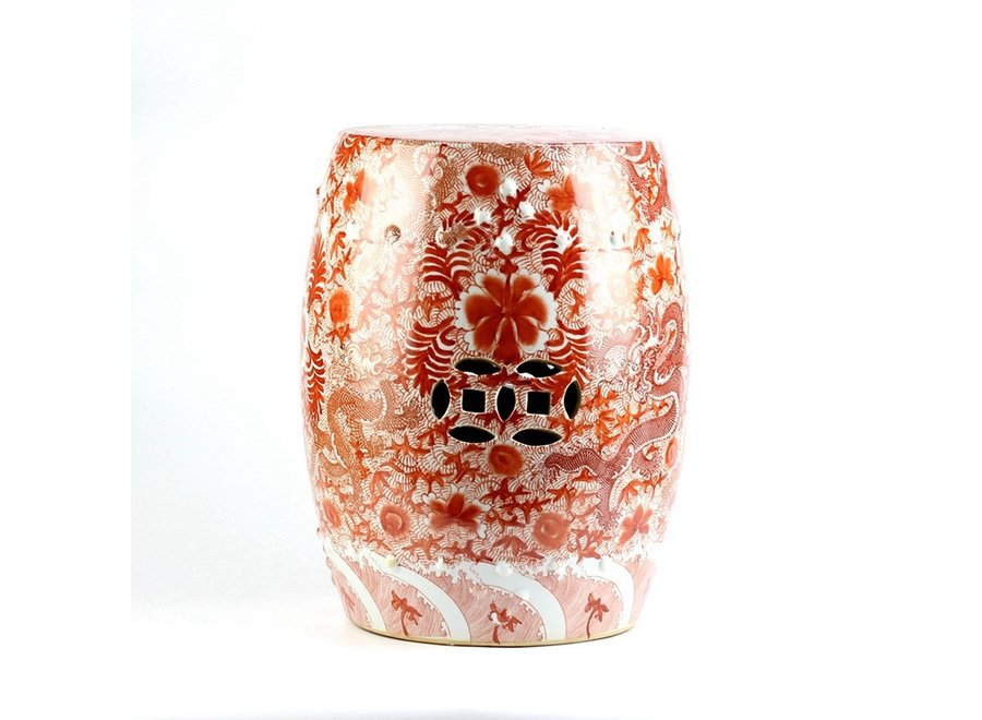 Keramik Hocker Gartenhocker Porzellan Handbemalte Drachen Rot D33xH45cm
