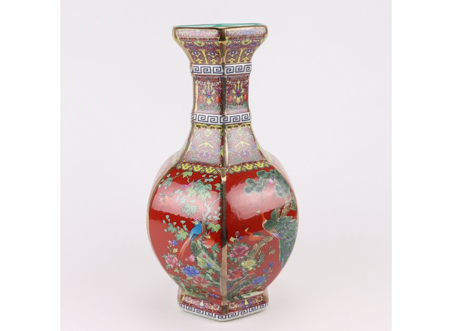 Chinese Vase Flowers Birds Red D19xH32cm