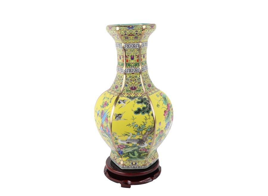 Chinese Vase Flowers Birds Yellow D19xH32cm