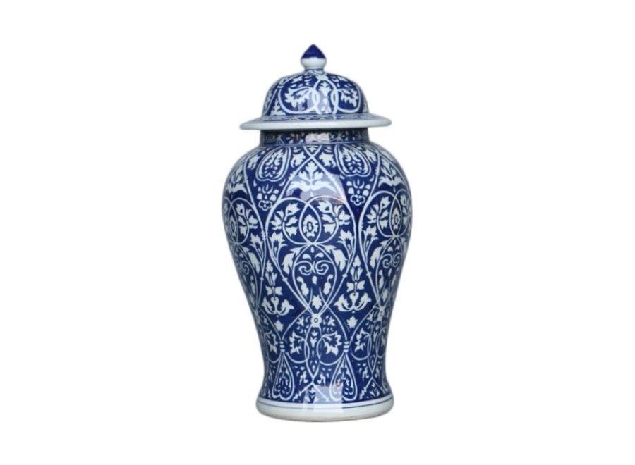 Chinesische Deckelvase Blau Weiß Porzellan Handbemalt D22xH45cm