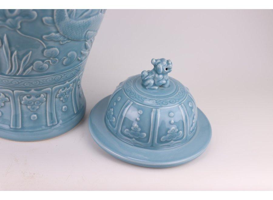 Chinese Ginger Jar Blue Koi Fishes Handmade D28xH56cm