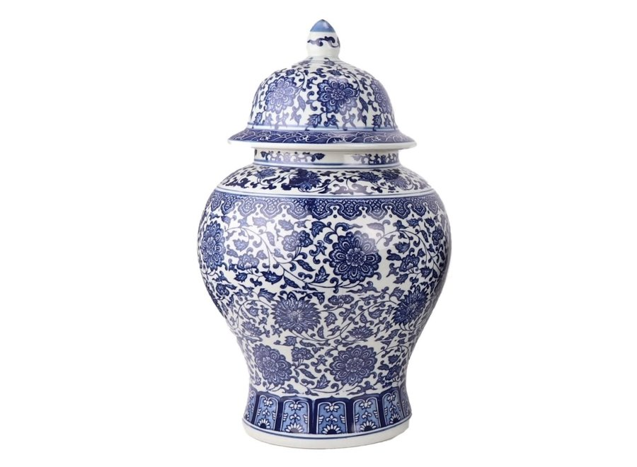 Chinese Ginger Jar Porcelain Lotus Blue White D27xH42cm