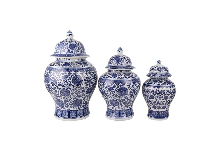 Chinesisches Deckelvase Porzellan Lotus Blau Weiß D22xH37cm