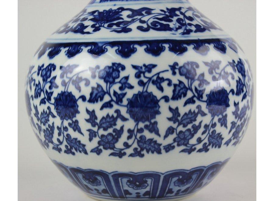 Chinese Vase Porcelain Lotus Blue White D20xH30cm