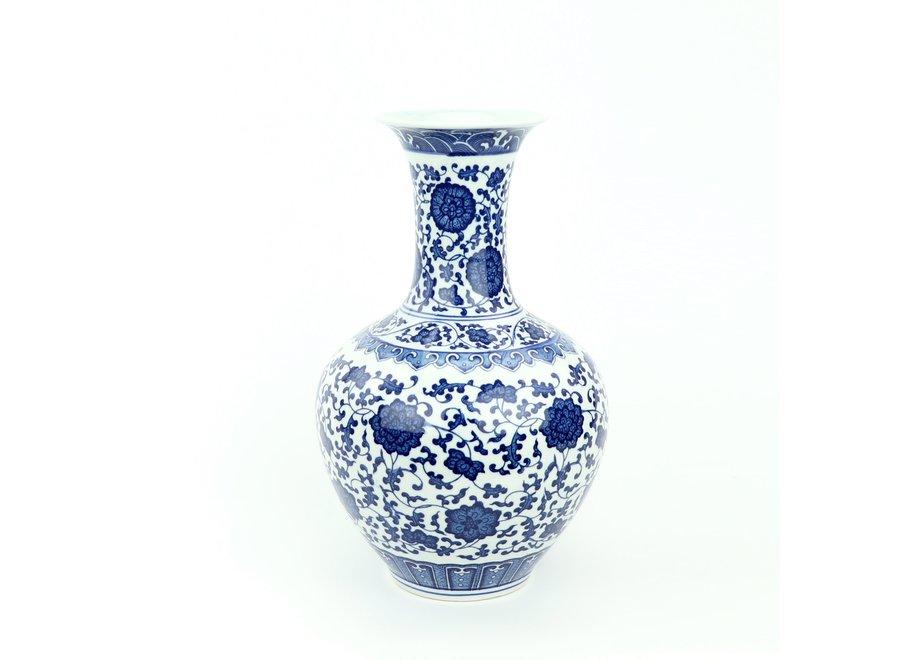 Chinese Vase Porcelain Lotus Blue White D21xH33cm