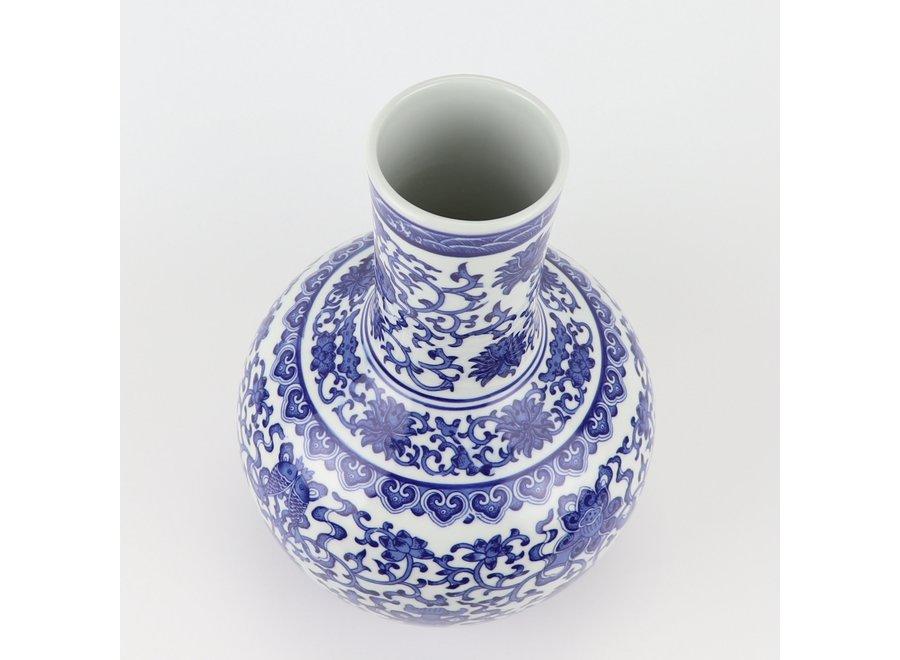Chinese Vase Porcelain Blue White Lotus D22xH34cm