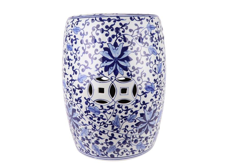 Ceramic Garden Stool Handpainted Blue White D33xH44cm