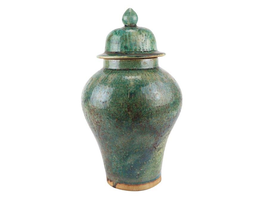 Chinese Ginger Jar Green Handmade D23xH41cm