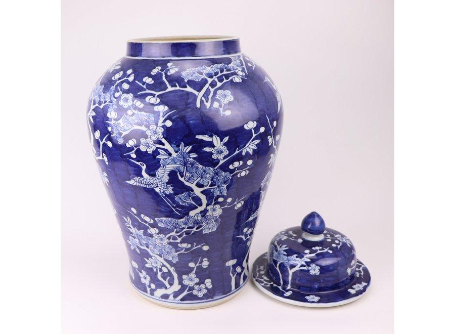 Chinesisches Deckelvase Porzellan Blaue Blüten handbemalt D34xH60cm
