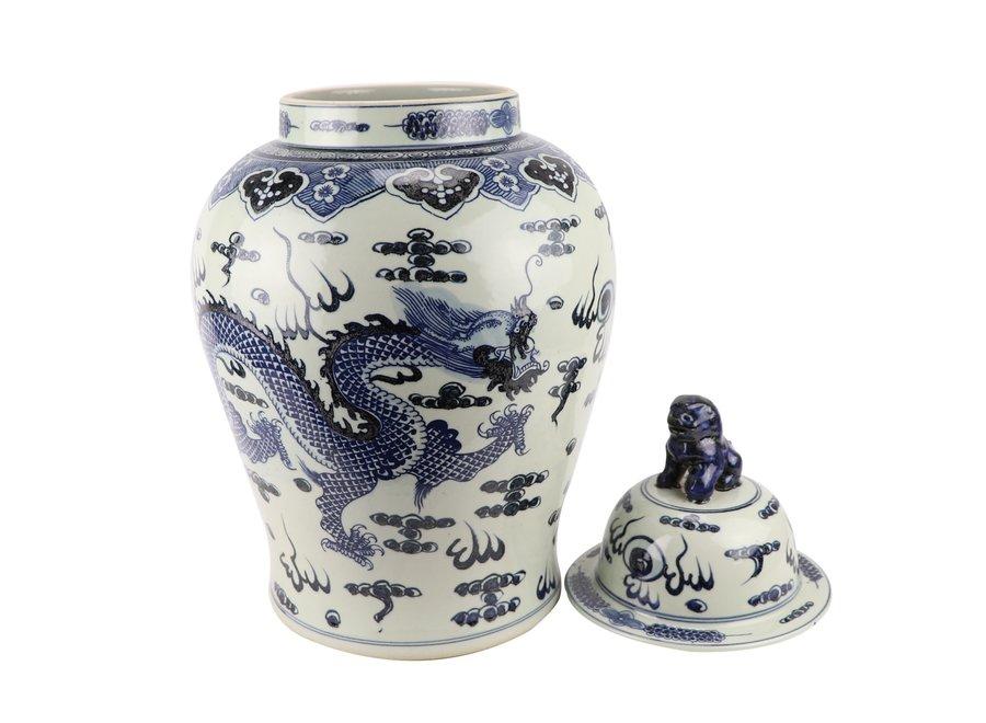 Chinese Ginger Jar Blue Dragon Handpainted D34xH65cm