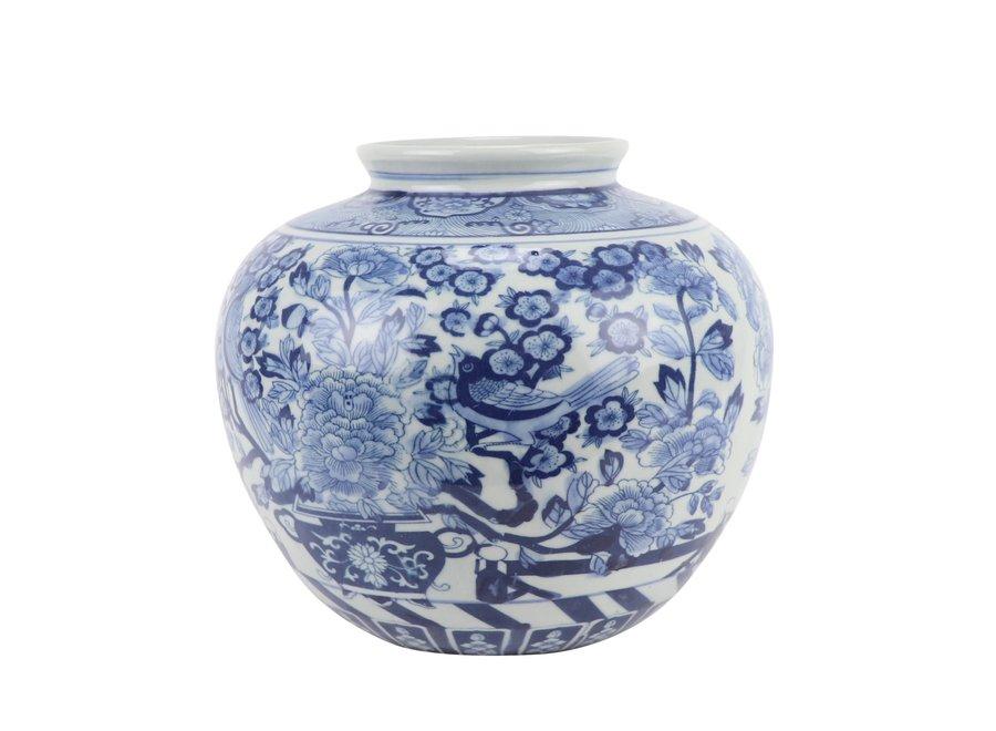 Chinesische Vase Blau Weiß Porzellan Rosen und Vögel D23xH20cm