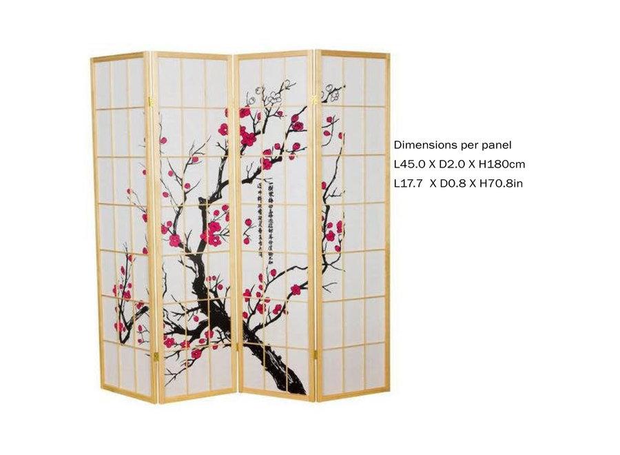Japanischer Paravent Raumteiler Trennwand B180xH180cm 4-teilig Kirschblüten Naturell