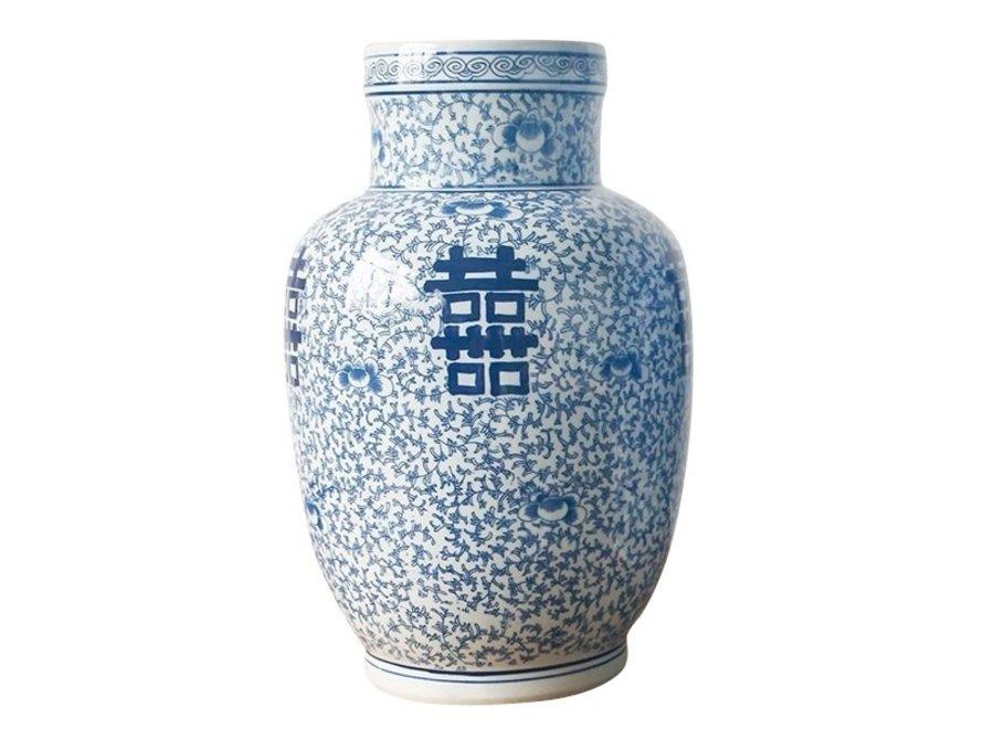 Chinesische Vase Blau Weiß Doppeltes Glück Porzellan D28xH42cm