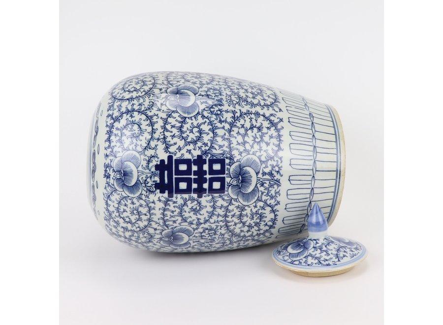 Chinesische Deckelvase Blau Weiß Porzellan Doppeltes Glück D22xH35cm