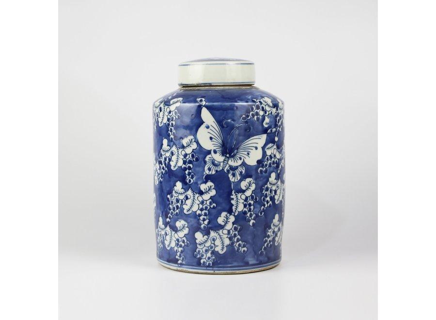 Chinesische Deckelvase Blau Weiß Porzellan Schmetterlinge D19xH29cm