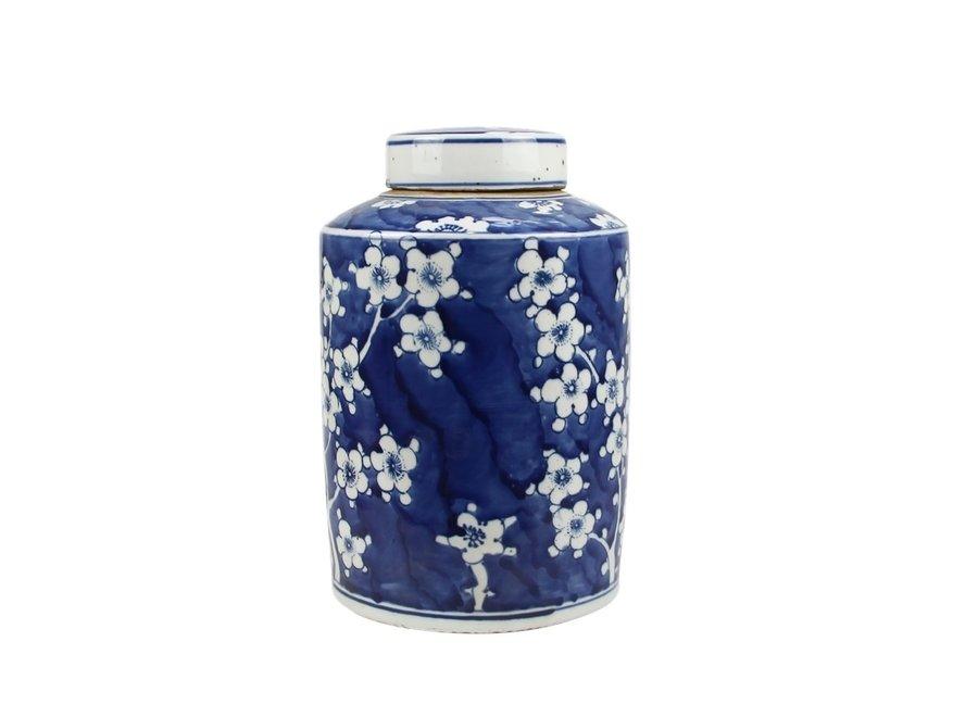 Chinesische Deckelvase Blau Weiß Porzellan Blüten D19xH29cm