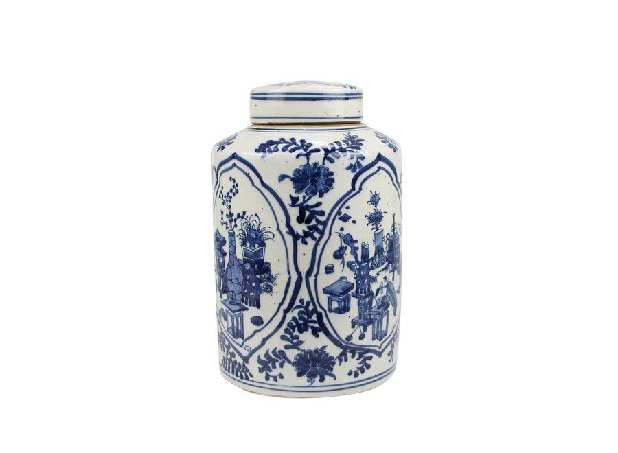 Chinesische Deckelvase Blau Weiß Porzellan Keramik D19xH29cm