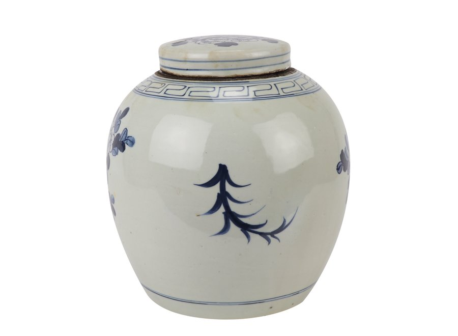 Chinesische Deckelvase Blau Weiß Porzellan handbemalte Vögel D30xH30cm