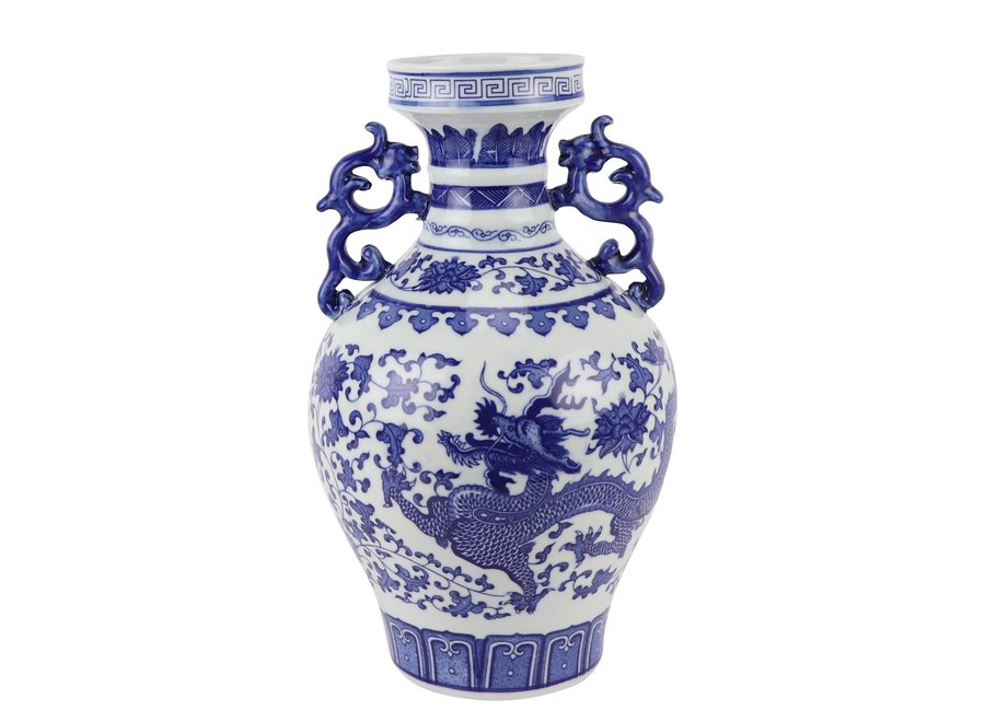Chinese Vase Blue White Porcelain Dragon D18xH33cm
