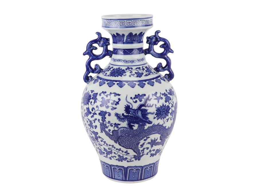 Chinesische Vase Blau Weiß Porzellan Drache D18xH33cm