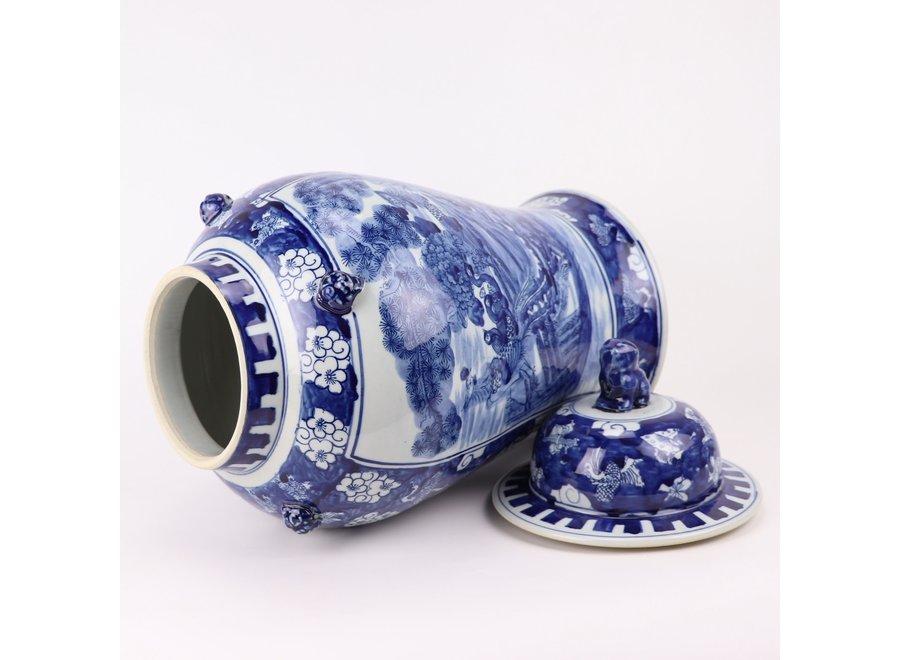 Chinesische Deckelvase Blau Weiß Porzellan handbemalte Vögel D26xH50cm