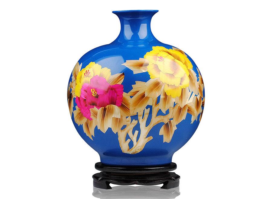 Chinesische Vase Porzellan Weizenstroh Pfingstrose Blau Handgefertigt D25xH29.5cm