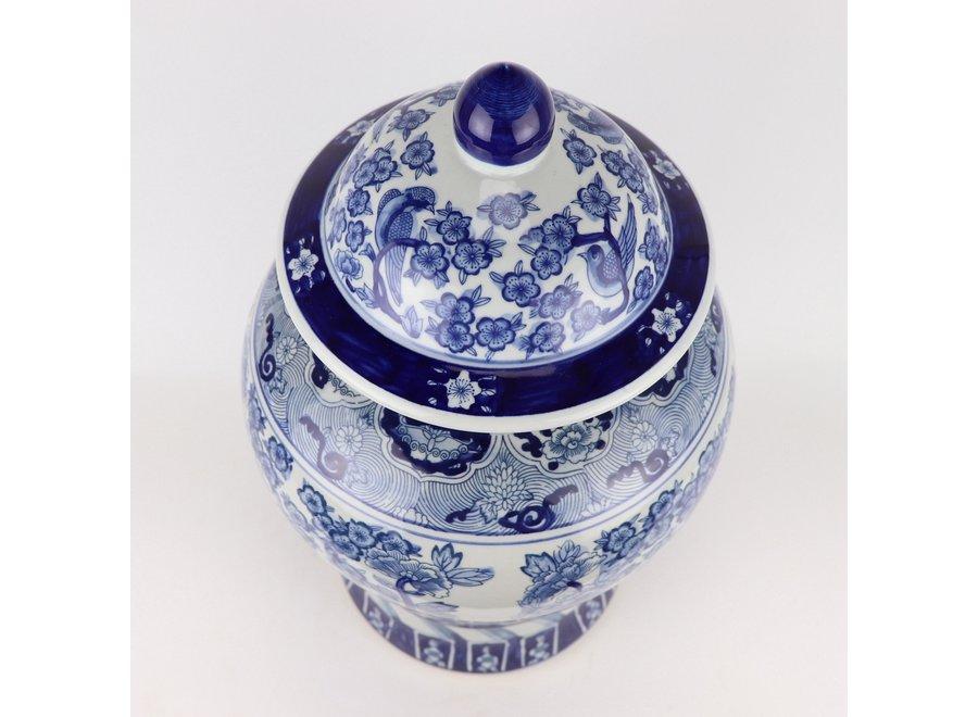 Chinesische Deckelvase Blauweiß Porzellan Chinesische Pfingstrosen D28xH48cm