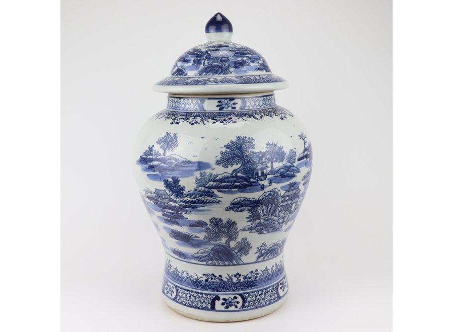 Chinesische Deckelvase Blau Weiß Porzellan Landschaft D29xH48cm
