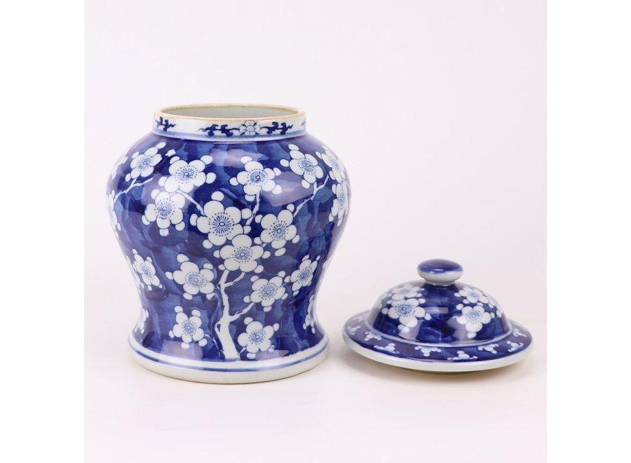 Chinesische Deckelvase Blau Weiß Porzellan Blüten D18xH24cm