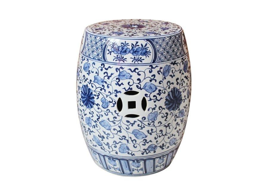 Ceramic Garden Stool Blue White Chinese Lotus Handpainted D33xH45cm