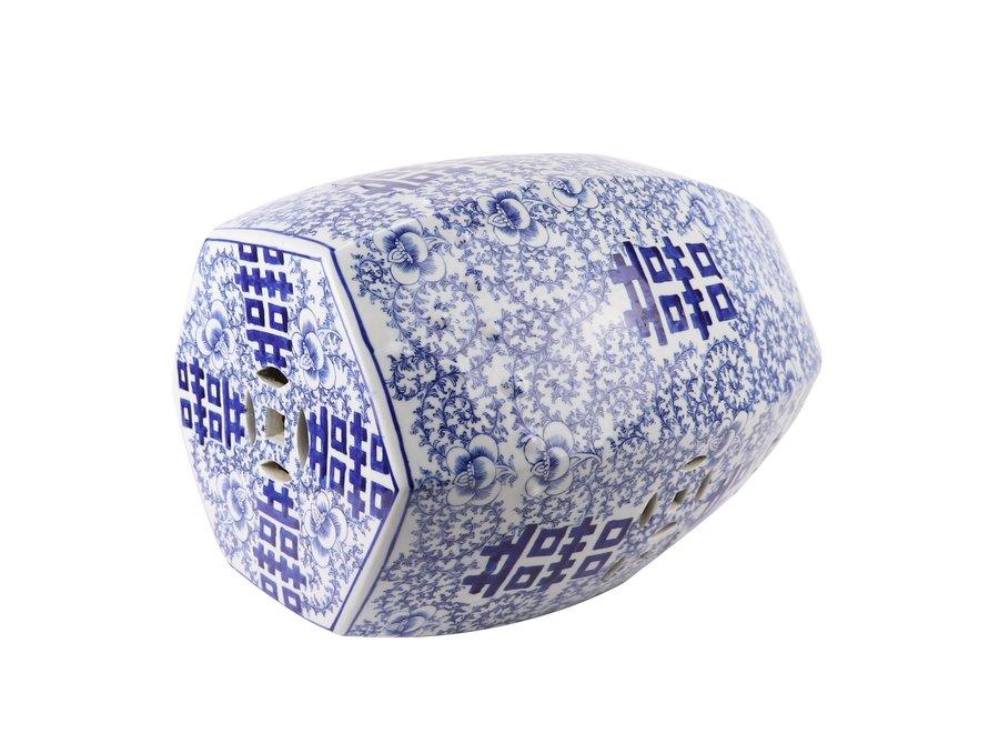 Keramik Gartenhocker Blau Weiß Handbemalt Doppeltes Glück D33xH45cm