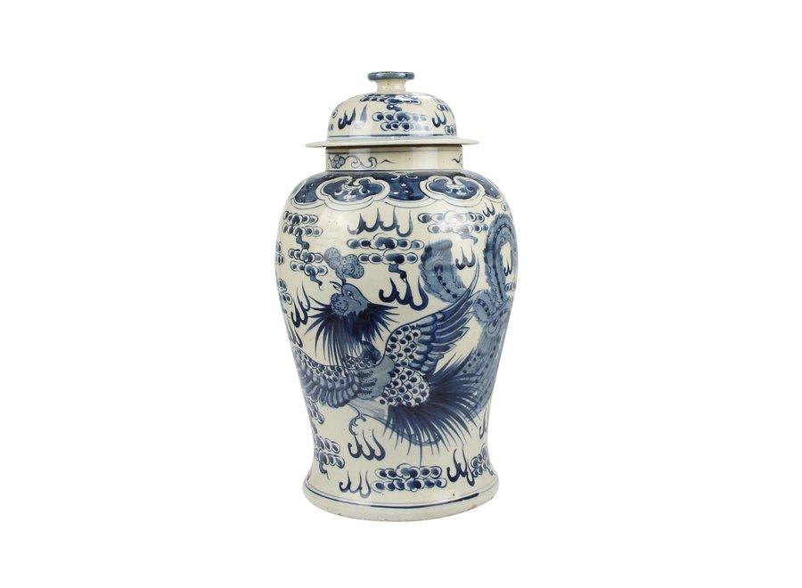 Chinesische Deckelvase Blau Weiß Porzellan Handbemalt Drachen Phönix D27xH47cm