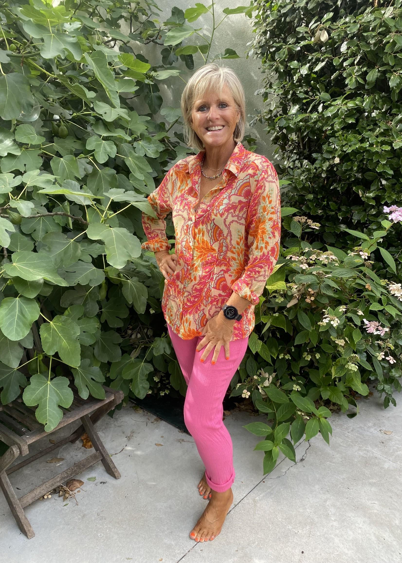 Love smalle roze linnen broek