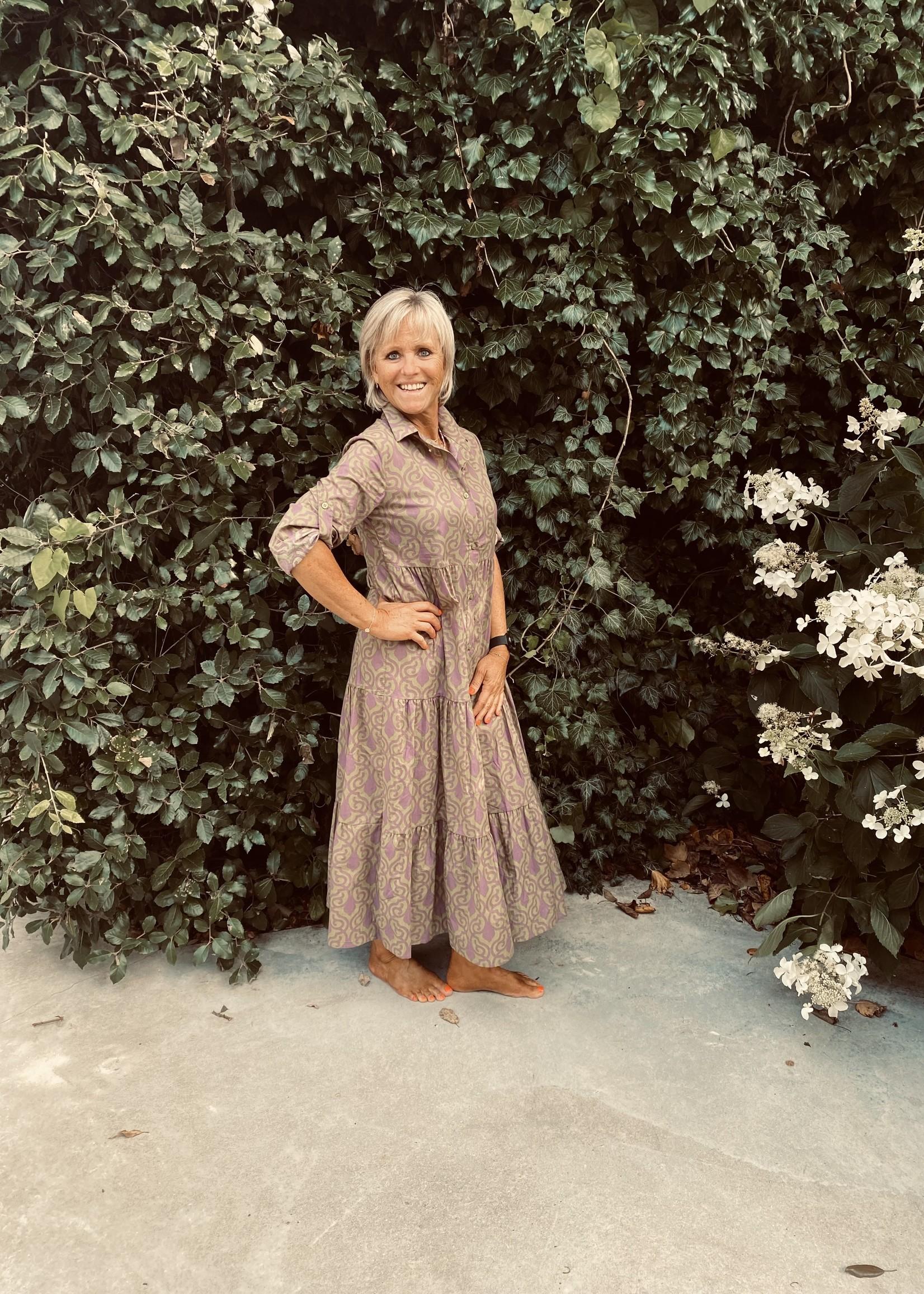 Love Lang kleed met paarse print
