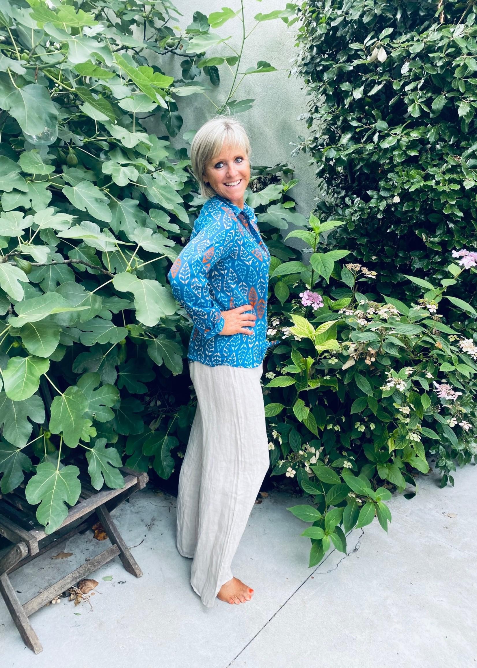Love Blauwe blouse met leuke print
