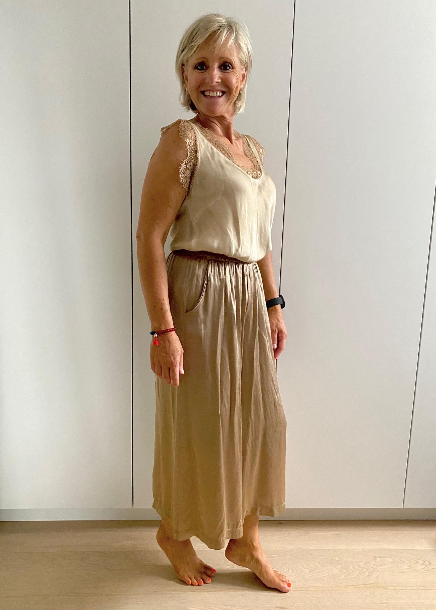 glanzende broek goudkleurig met elastiek