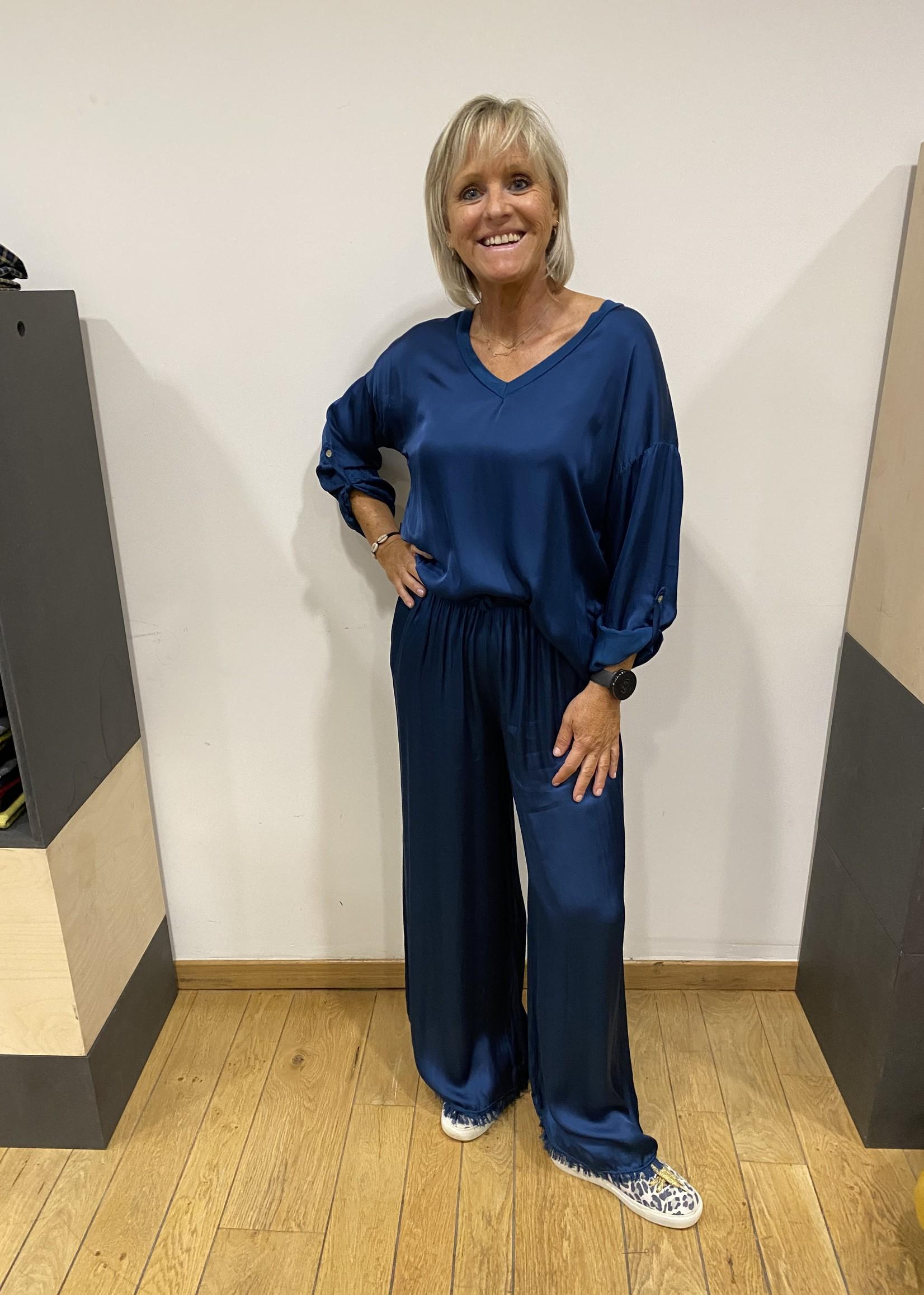 Glanzende blouse met satijn