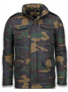 Enos Heren Winterjas - Camouflage Jack - Groen