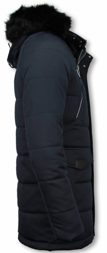 Enos Winterjassen - Heren Winterjas Lang - Kunstkraag - Exclusive Zipper Parka - Blauw