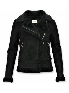 Z-design Bikerjack Dames -  Lammy Coat Jas - Zwart