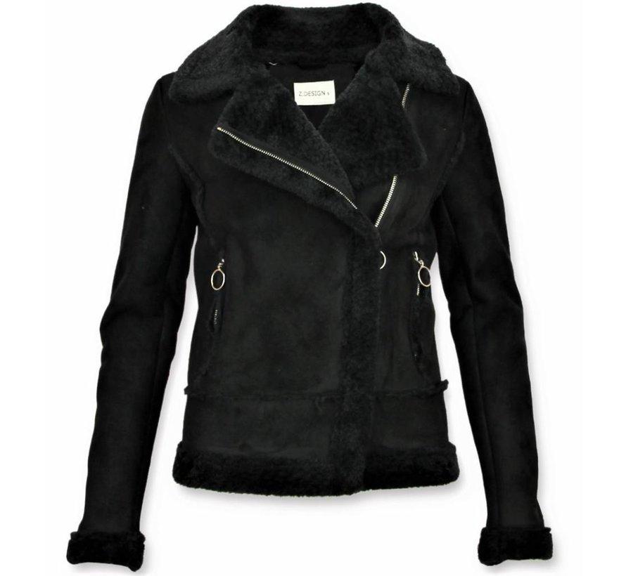 Bikerjack Dames -  Lammy Coat Jas - Zwart