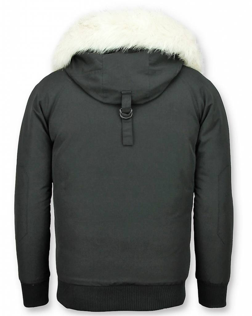 Just Key Korte Winterjas - Witte bontjas - Jas Imitatiebont - Canada - Zwart
