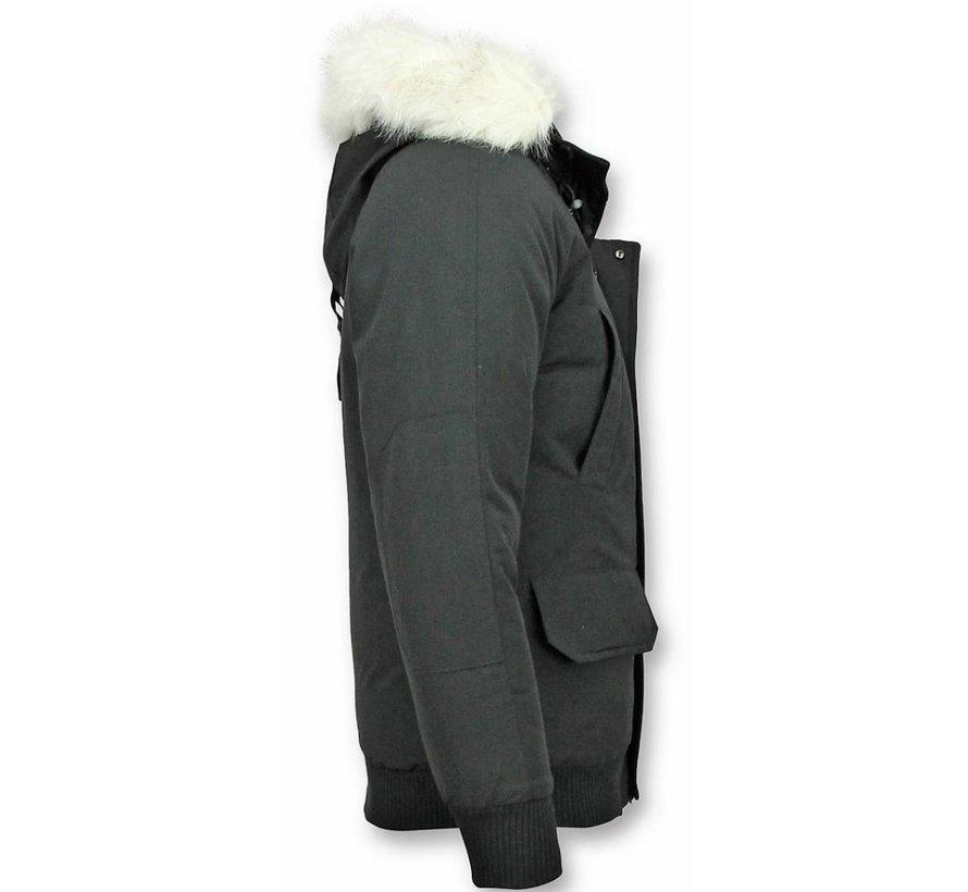 Korte Winterjas Heren  met Witte bontkraag - Zwart
