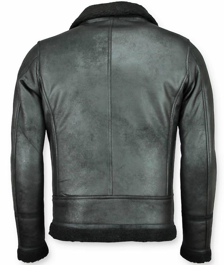 Warren Webber Lammy Coat Heren - Imitatie Bontjas - Fake Fur jas - Zwart