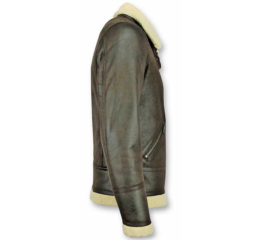 Lammy Coat Heren - Imitatie Bontjas - Bruin